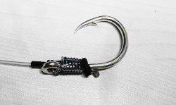 画像1: 泳がせ釣り仕掛け ハリス80号5,0m×針環付大物35号錫カラー